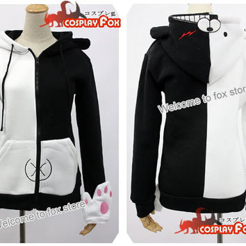 Danganronpa Dangan Ronpa Monokuma black white bear hoodle jacket with gloves