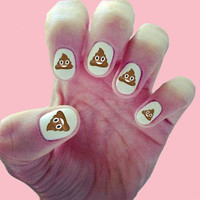 Smiling Poop Emoji Nail Decals / Nail Art / Nail Design