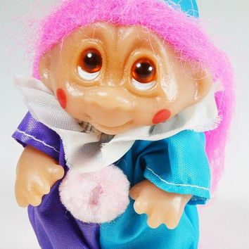 Troll Doll In Clown Suit With Pink Hair Brown Eyes By Norfin Dam 3.25' Tall