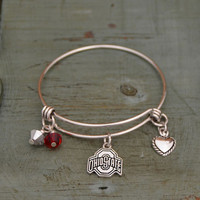 Ohio State Buckeyes Memory Wire w/Crystal Bead Duo, Heart & Logo Charms Bracelet