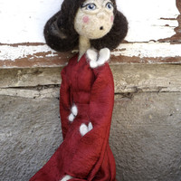 Art doll OOAK -  Collectible doll Madame Butterfly - felted doll, natural wool - Red Balck Puccini Doll
