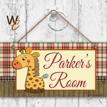 """Nursery Sign, Giraffe Boys Room Sign, Personalized Sign, Kid's Name, Kids Door Sign, Baby Nursery Art, 5"""" x 10"""" Sign, Made To Order"""