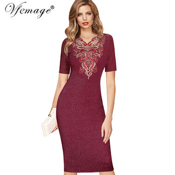 Vfemage Womens Sexy Elegant Glitter Embroidery Floral Vintage Party Mother of Bride Special Occasion Bodycon Pencil Dress 4360