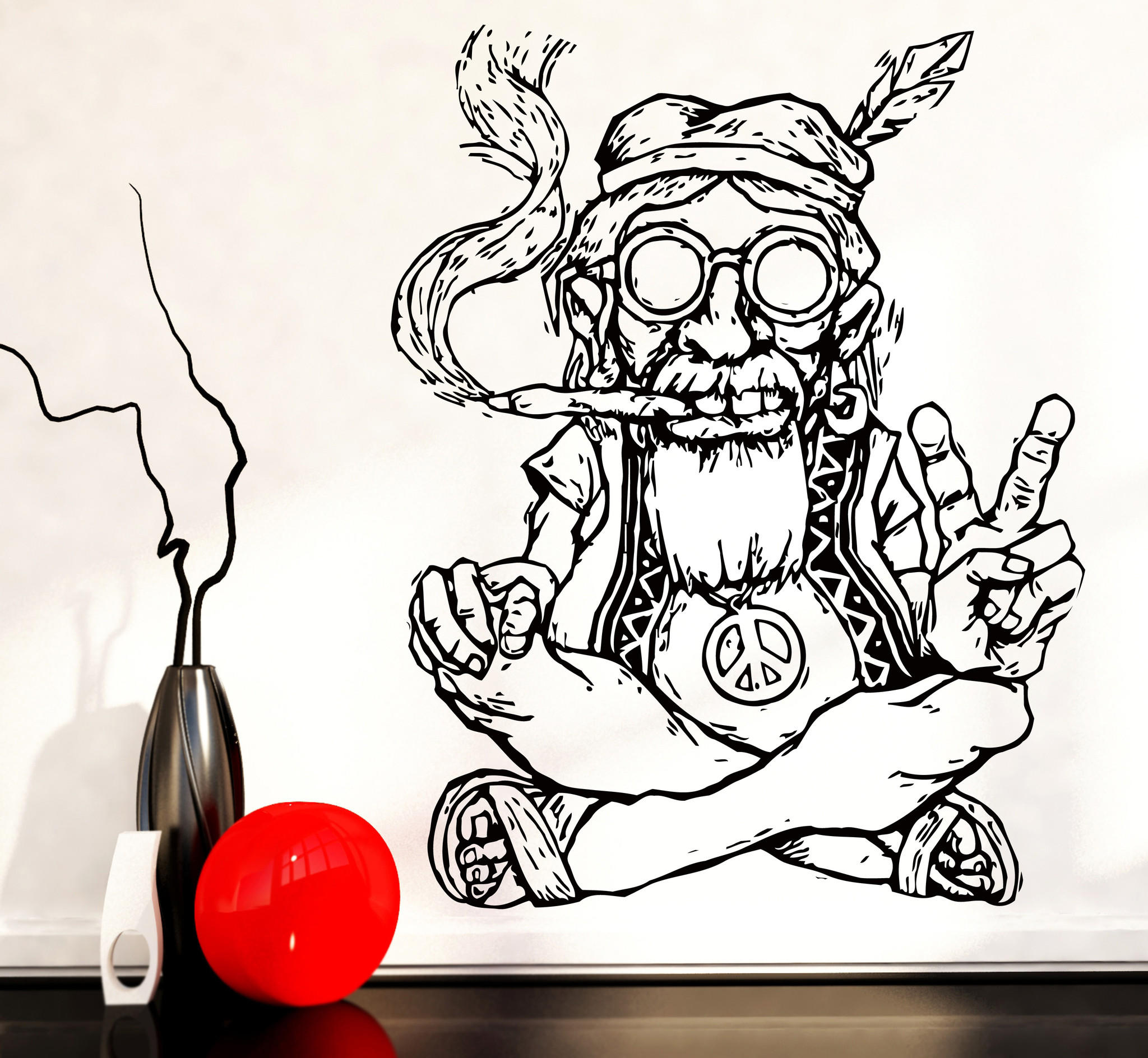 vinyl decal wall sticker hippie in from wallstickers4you love vinyl decal wall sticker hippie in glasses smoking weed marijuana peace symbol ethnic