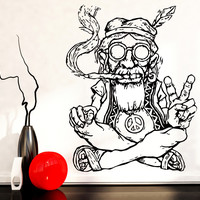 Vinyl Decal Wall Sticker Hippie In Glasses Smoking Weed Marijuana Peace Symbol Ethnic Decor (z2173)
