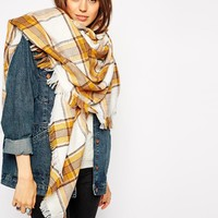 ASOS Oversized White Base Tobacco Check Square Scarf