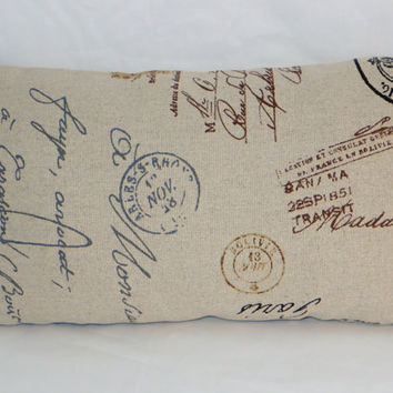 "Postage Marks Pillow 12 x 20"" Rectangle Linen Blend Beige with Brown Grey Black Gold Stamps Postmarks Postale Script  Ready Ship Last One"