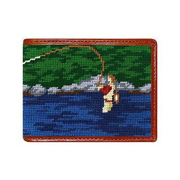 Fly Fishing Scene Needlepoint Wallet by Smathers & Branson