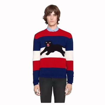 Leopard pattern hedge Sweater warm man stripe new fashion men Round neck casual upper outer garment