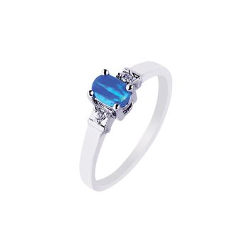 Silver with Rhodium Finish 2.5mm Shiny Created Opal Oval Top Ring with White Stone
