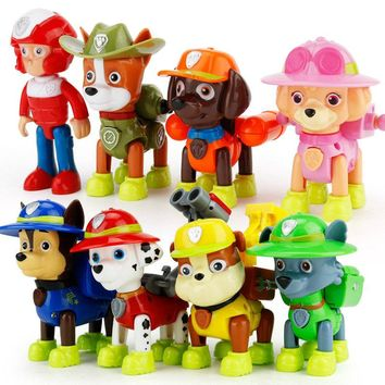 8pcs/lot 8 style BJD Deformable Puppy Toy for PAW Patrol Dog Model Anime Kids Toys Action Figure M107