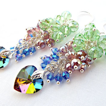 Heart Earrings, Faceted Crystal, Cluster Earrings, Wire Wrapped Beads, Handmade Earrings, Crystal Heart, Crystal Jewelry, UK Seller