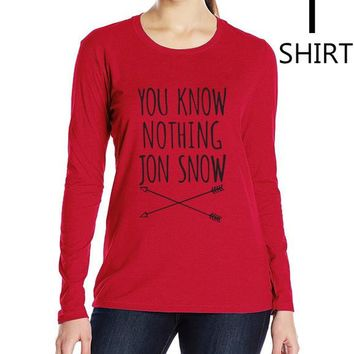 """Black and Red """"You Know Nothing Jon Snow"""" Women's long sleeve T shirts"""