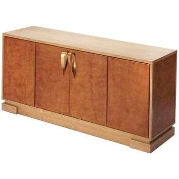 Chauncey Leather Console Cabinet