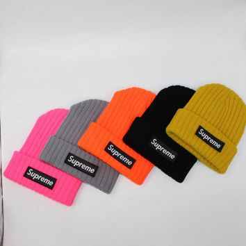 Supreme Winter Stripes Alphabet Knit Hip-hop Hats [429895811108]