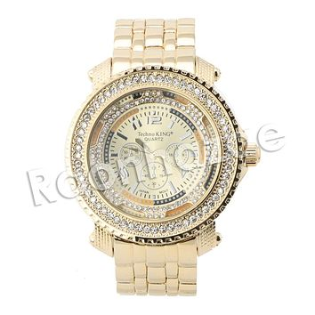HIP HOP RAONHAZAE MIGOS LUXURY GOLD FINISHED LAB DIAMOND WATCH