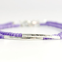 Pastel Purple and Silver Bar Tube Bracelet - Handmade Trendy Jewelry - Minimalist Jewelry - Stackable Bracelet - Ready to Ship