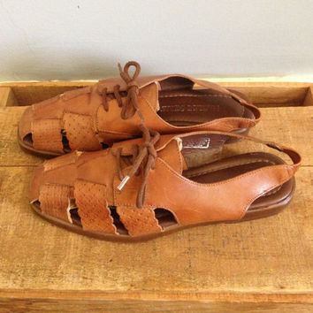 Vintage Made In Brazil Caramel Brown Leather Bohemian Hippie Woven Sandals Shoes size 8