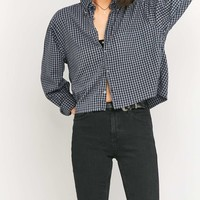 Urban Renewal Vintage Customised Cropped Dark Grey Flannel Top - Urban Outfitters