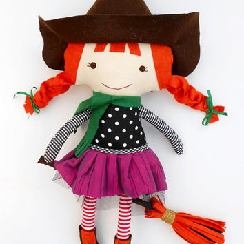Witch doll, witch, halloween, fabric doll, halloween gift, halloween decor, halloween doll, cloth doll, rag doll, handmade dolls, fall decor
