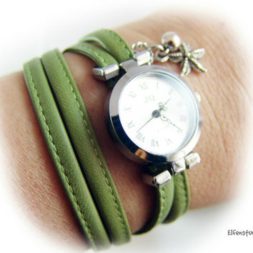 Women Watch wristwatch green silver  - women's wrap watch - layered look - gift for her sister girlfriend wife - made to measure