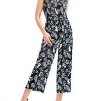 Casual Round Neck Patch Pocket Printed Wide-Leg Jumpsuit