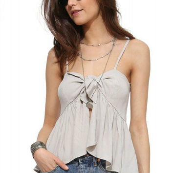 Grey Spaghetti Strap Pleated Cami