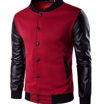 Streetstyle  Casual Men Band Collar Color Bomber Jacket