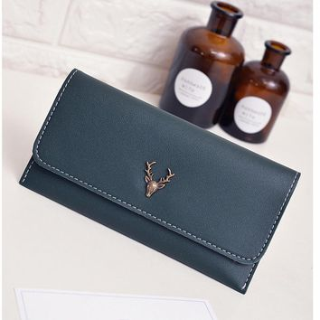 DUDINI New Korean Fashion Small Antlers Women Wallets Long Simple 2 Fold PU Leather Ladies Wallet Card Holder Coin Purse