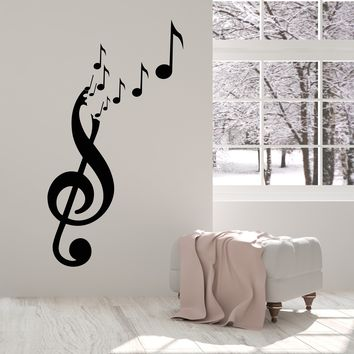 Vinyl Wall Decal Musical Сlef Notes Musician Music Shop Stickers (2296ig)