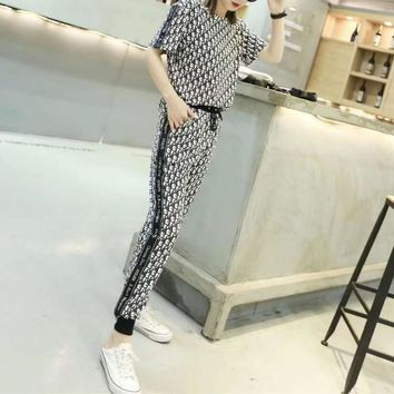 """""""Dior""""Woman's Leisure  Fashion Letter Printing Stripe Spell Color Short Sleeve Trousers Two-Piece Set Sportswear"""