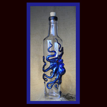 The Blue Beasty, Kraken Flask, with Swarovski Crystal Barnacles, Octopus Sculpture by Elstwhen.