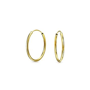 Minimalist Tiny Endless Real 14K Gold Hoop Earrings For Women For Teen