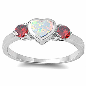 CUTE white opal heart & garnet .925 Sterling Silver Ring SIZES 5-8