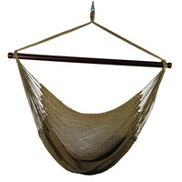 Algoma 44 in. Polyester Rope Hanging Chair in Tan-4913T at The Home Depot