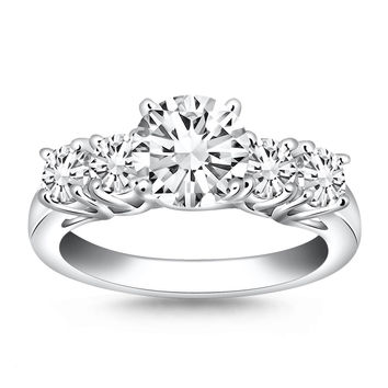 14K White Gold Five Stone Diamond Trellis Engagement Ring