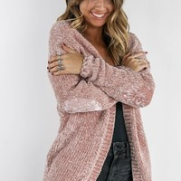 Getting Lost Canyon Rose Chenille  Cardigan With Velvet Elbow Patch