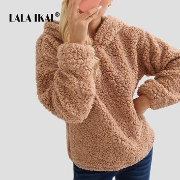 LALA IKAI Ins Teddy Hooded Hoodies Women Fluffy Solid Camel Pullover Females Harajuku Casual Oversize Sweatshirt Girl SWA2091-47