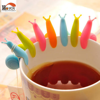 10 pcs/Lot cute Snail wineglass label for tea bag hanging Mug cup clip Tea infuser party supplies Novelty household gadgets