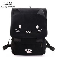 Cute Cat Canvas Cartoon Embroidery Backpacks For Teenage Girls School Bag