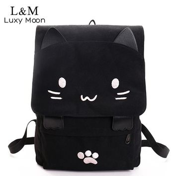 Cute Cartoon Cat Embroidered Canvas Backpack for Your Casual Lifestyle