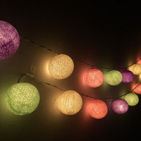 Cotton ball lights for home decor,party decor,wedding patio,20 pieces indoor string lights bedroom fairy lights purple,cream,light green,
