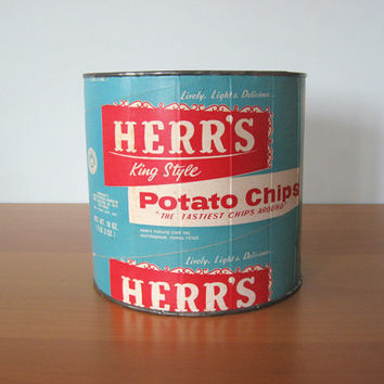 Vintage Herr's Chip Container - Retro Advertising Storage
