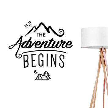 The Adventure Begins Decal, Typography Wall Sticker, Kids Sticker, Typography Decal, Nursery Decal, Office Decor, Bedroom Wall Decal,