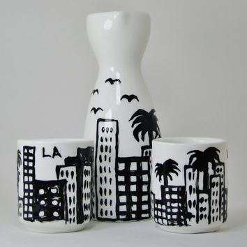 Los Angles Cityscape Sake Cup Set Black and White Handpainted Set of 3
