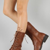 Rio-6 Military Lace Up Mid Calf Boot