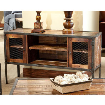 Laramie Iron Frame Reclaimed Wood Sofa Table with Doors