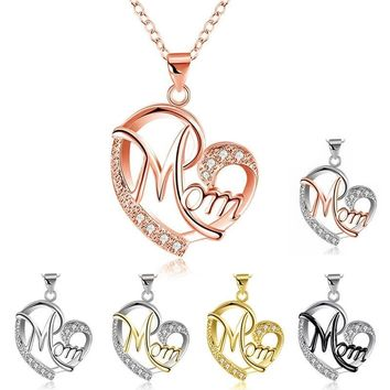 Women's MOM Heart Shape Inlaid Crystal Pendant Necklace