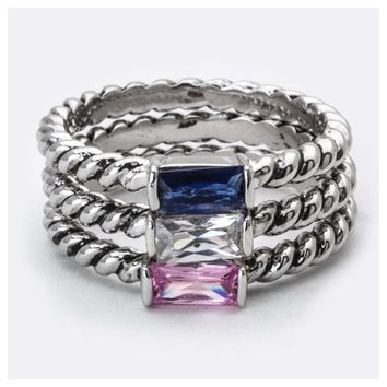 Stunning Baquette Blue, Clear, Pink, 18kt Gold Ring Set