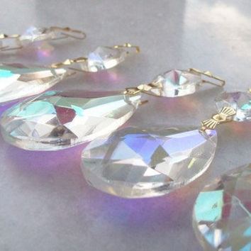5 Chandelier Crystals Teardrop Crystal AB Ornaments Shabby Cottage Chic Iridescent Aurora Borealis Crystals